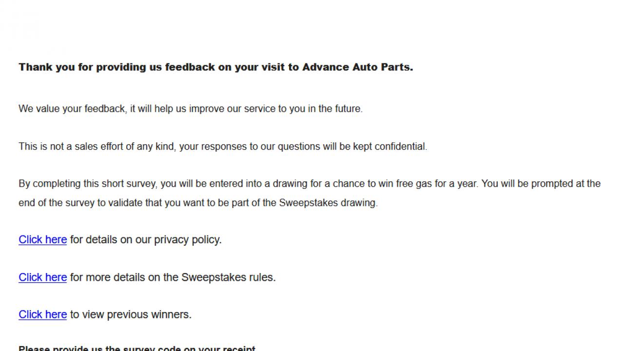 Advanceautoparts Com Survey Official Advance Auto Parts